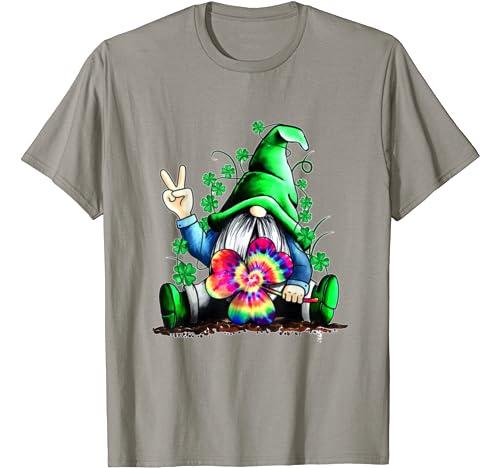 Grome Shamrock Tie Dye Hippie St Patrick's Day Gnomies T Shirt