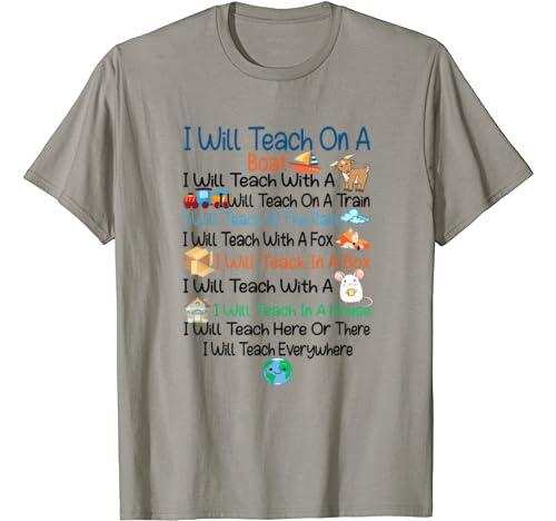 I Will Teach On A Boat I Will Teach With A Goat Teacher Gift T Shirt