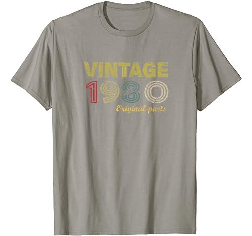 Vintage 1980 Divertido Regalo 40 cumpleaños Hombre Mujer Camiseta: Amazon.es: Ropa y accesorios