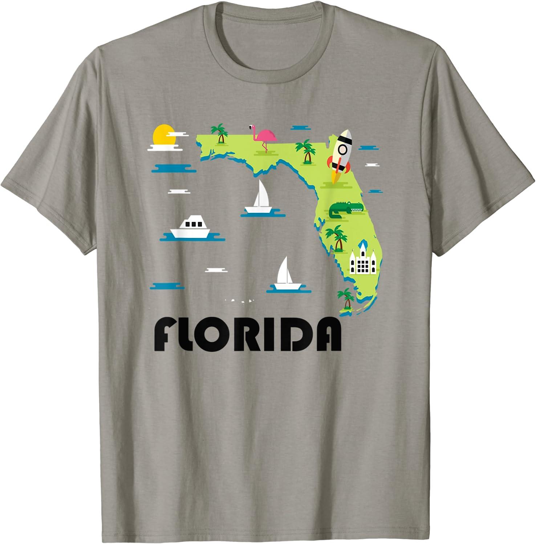 Key West Men T Shirt Florida USA Key West Map T-Shirt Florida Map T-Shirt