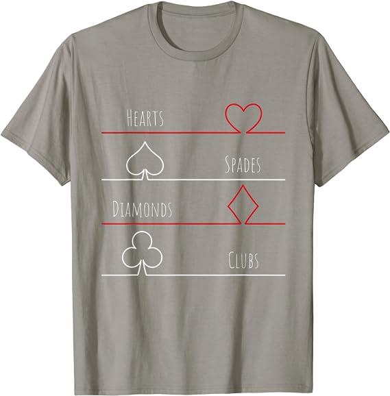 Picas Diamantes Cartas de P/óquer Corazones Tr/éboles Camiseta