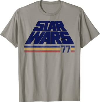 Star Wars Classic Retro Slanted Logo Striped '77 T-Shirt