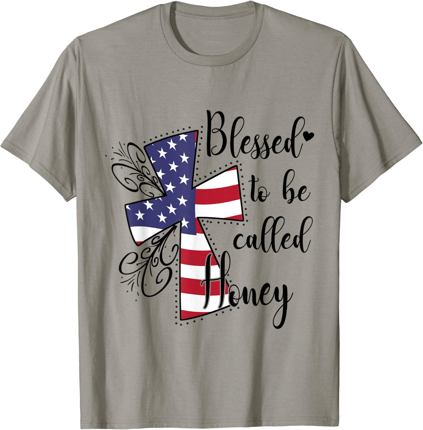 Women Mom Blessed To Be Called Honey American Flag T-Shirt