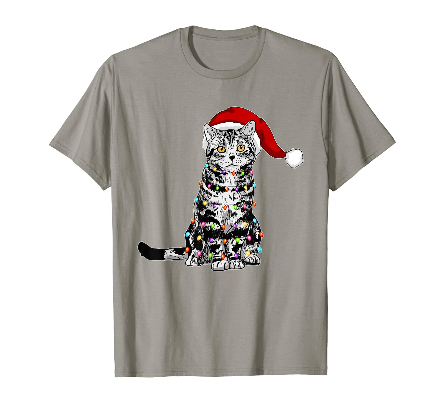 Santa American Shorthair Cat with Christmas lights Gifts T-Shirt
