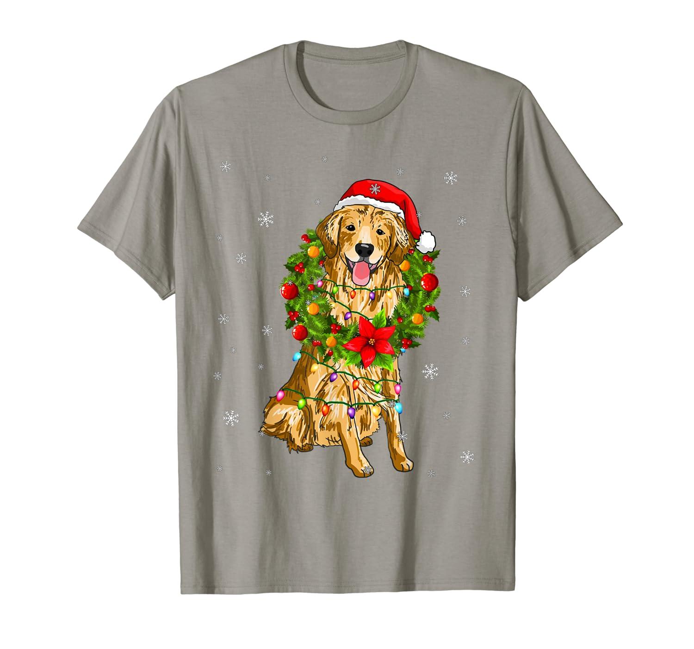 Santa Golden Retriever Dog with Christmas lights Gift T-Shirt