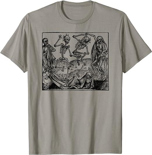 Halloween Skeleton Dance Shirt Art-Vintage Dancing Skeletons Camiseta