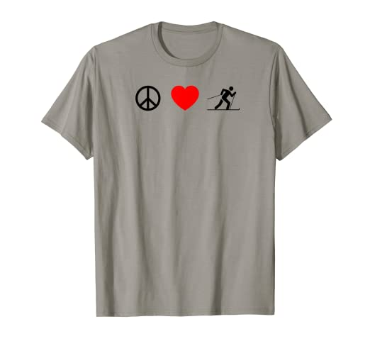 8fac62e46 Image Unavailable. Image not available for. Color: Peace Love XC Ski Cross  Country Telemark Clothing Gift