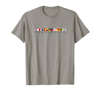2e8b8848914 Amazon.com  Charlevoix Michigan Nautical Flag T-Shirt Shirt Tee Lake ...