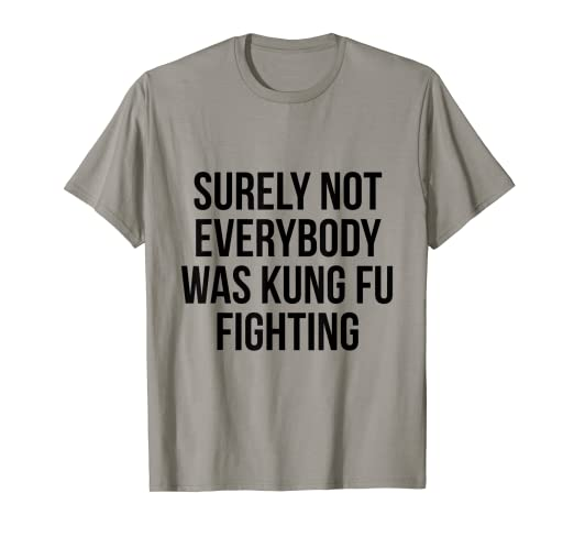 "279a00207 Image Unavailable. Image not available for. Color: Funny ""Surely Not  Everybody Was Kung Fu Fighting"" T-Shirt"
