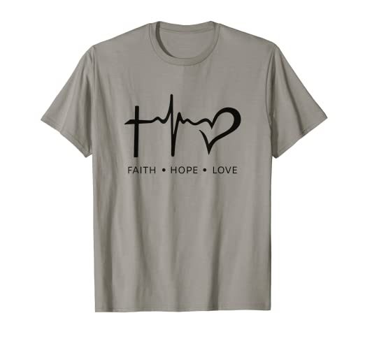 15259e879cd2 Image Unavailable. Image not available for. Color: Faith Hope Love T Shirt  Jesus Saying Novelty Christian