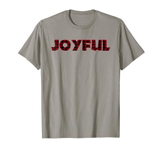 Amazon.com  Women Christmas Joyful Black Red Buffalo Plaid Print T ... 2b02c8b5f