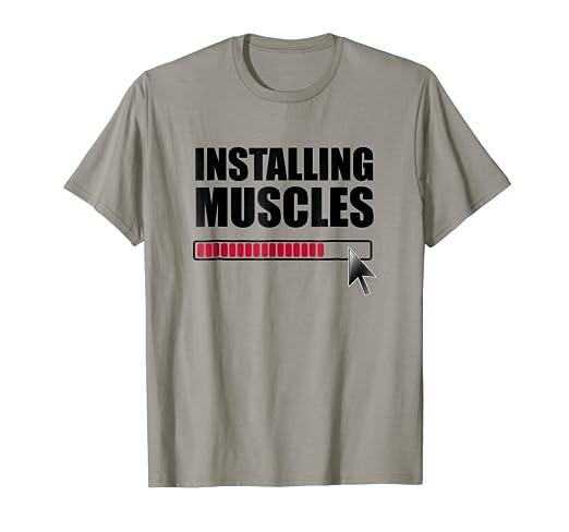 f3e73477 Amazon.com: Installing Muscles (Loading) Gym T-Shirt: Clothing