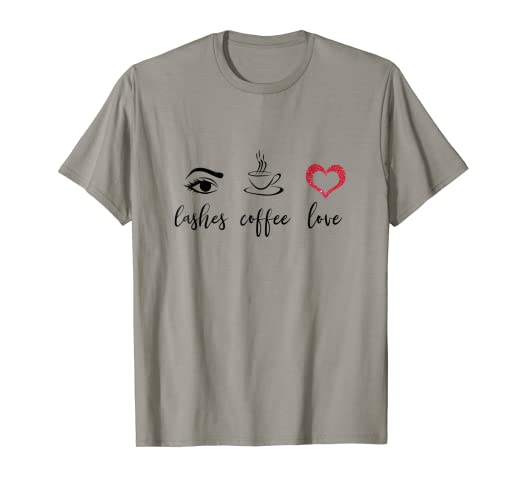84c7a69a2e3 Image Unavailable. Image not available for. Color: Womens Eyelashes T Shirt  Coffee Love Lashes tee