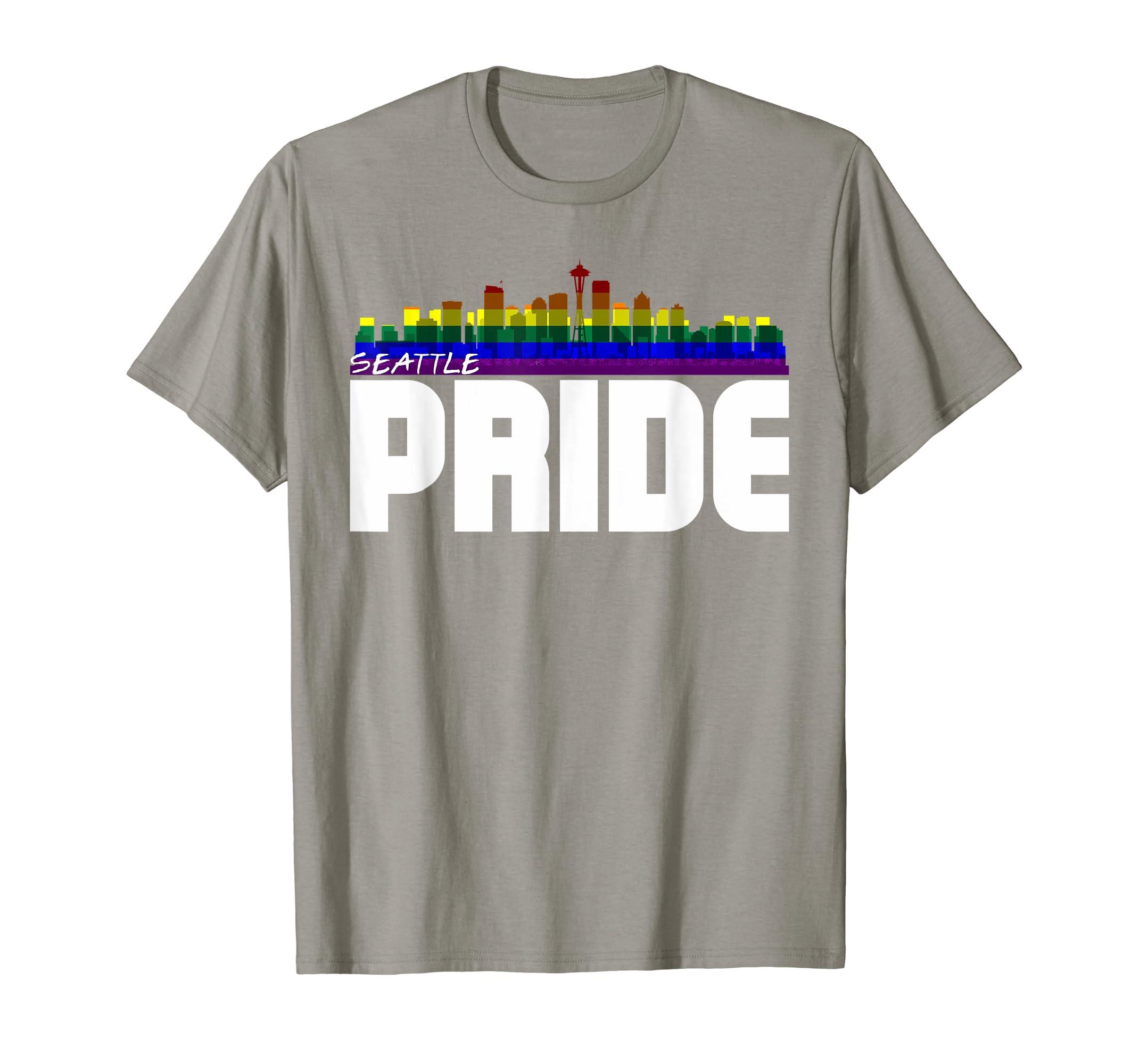 0abc69fa330023 Amazon.com  Seattle Skyline LGBT Pride T-Shirt  Clothing