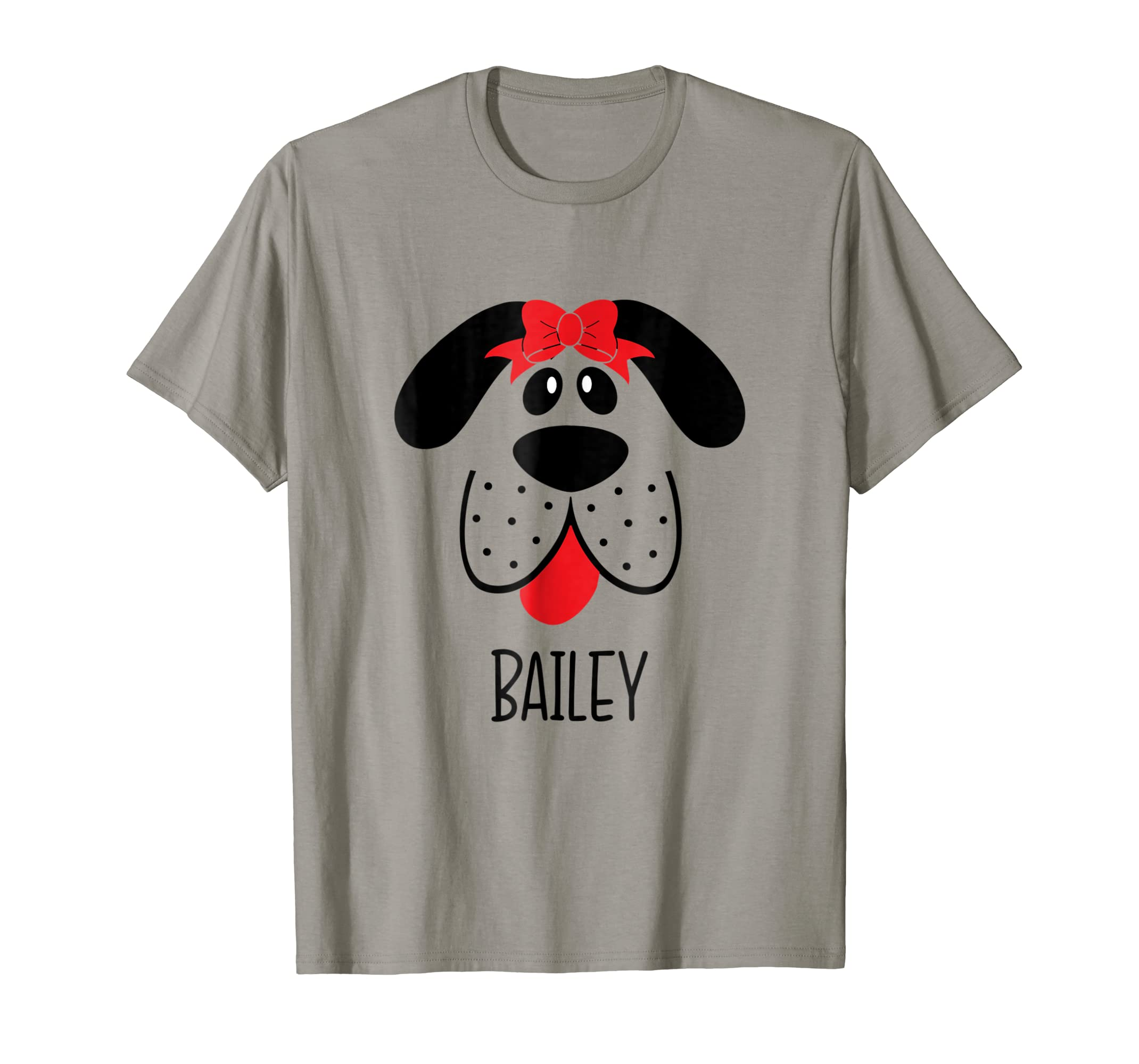BAILEY Dog Face T-Shirt Cute Puppy Red Bow-AZP