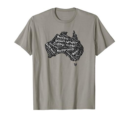 Australia Word Map.Amazon Com Australia Lingo Word Map T Shirt G Day Mate Clothing