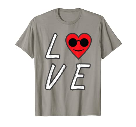 d2334a3112 Amazon.com  Love Heart Emoji With Sunglasses T-Shirt Valentines Day ...