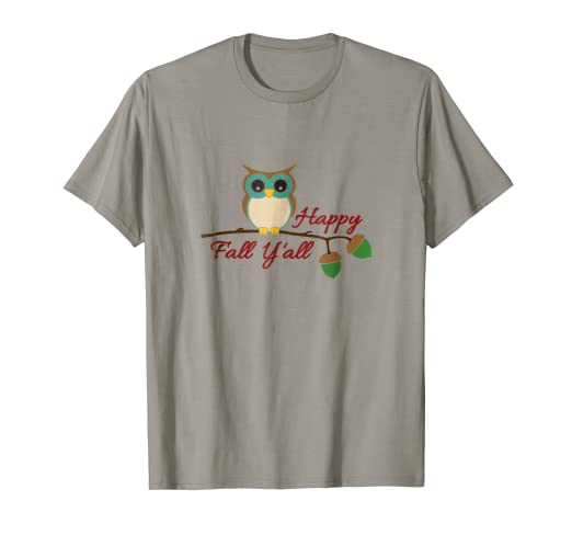 5bc47a19f Image Unavailable. Image not available for. Color: Happy Fall Y'all T-Shirt  with Owl - Autumn Shirts for Women