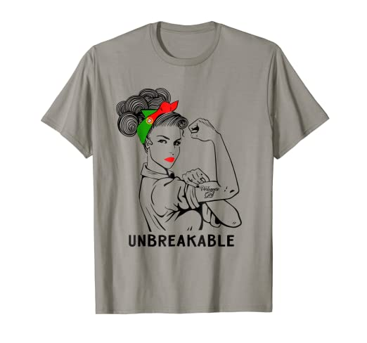 9ff24d5d Image Unavailable. Image not available for. Color: Portuguese Girl  Unbreakable T-Shirt Heritage Portugal Flag