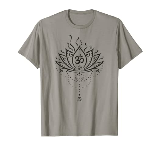 f2aa7ac41c Image Unavailable. Image not available for. Color: Lotus Flower Moon Om  Symbol Yoga Meditation Zen Namaste Gift T-Shirt