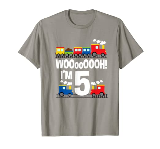 Amazon Boys WOOooOOOH Im 5 Trains Birthday T Shirt For
