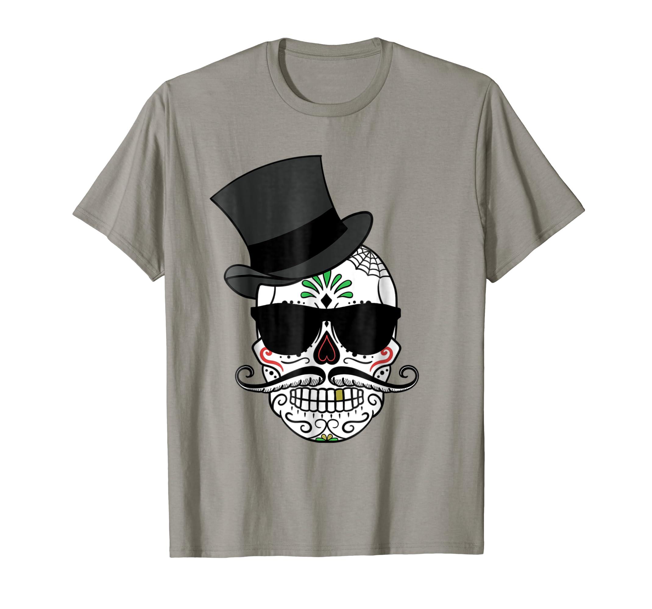 ec52626d Amazon.com: Mexican Top Hat Day Of Dead Sunglasses Sugar Skull T Shirt:  Clothing