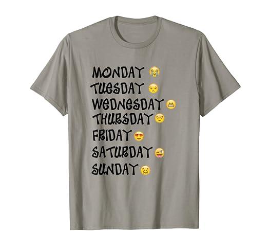 95fe6c60 Amazon.com: Emoji T-Shirt Love Your Emoticon Shirt 7 Days A Week ...