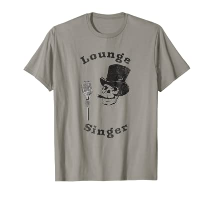 Lounge Singer distressed t shirt with skull in top hat