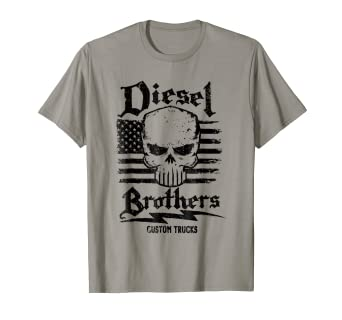 b8ab3260 Image Unavailable. Image not available for. Color: Diesel Brothers Custom  Trucks Skull USA Flag Graphic T-Shirt
