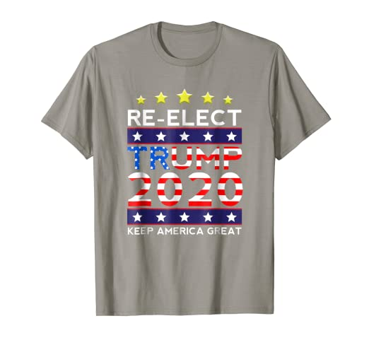 0db402303 Image Unavailable. Image not available for. Color: Re-elect Trump 2020 T- shirt - USA Flag Keep America Great