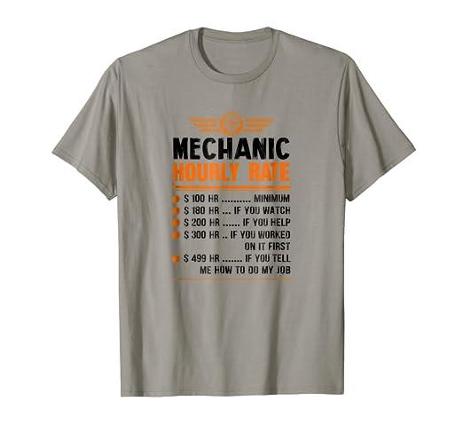 ceeebedaea Amazon.com: Mens Funny Mechanic Hourly Rate Pricing Chart Show T ...