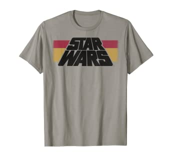 45eb82d8 Image Unavailable. Image not available for. Color: Star Wars Vintage  Slanted Logo Retro Striped Graphic T-Shirt