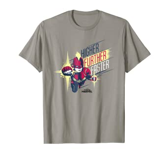 3c953d9f081 Image Unavailable. Image not available for. Color  Captain Marvel Higher  Further Faster Drawn Graphic T-Shirt