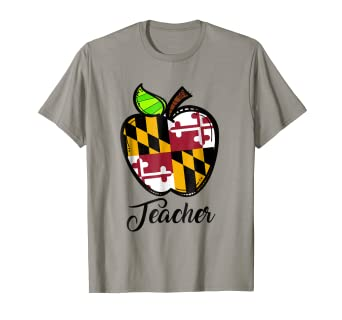 30e4391d1 Image Unavailable. Image not available for. Color: Maryland Flag Teacher  Apple T-Shirt ...