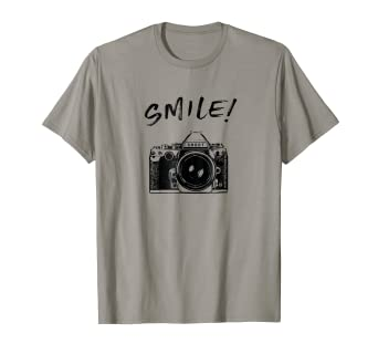 5ca75c101e Image Unavailable. Image not available for. Color: Cool SMILE Camera t shirt  for men women kid photographers