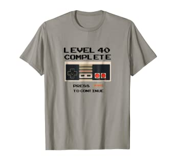 240eba19 Image Unavailable. Image not available for. Color: Level 40 Complete Video  Gamer 40th Birthday T-Shirt
