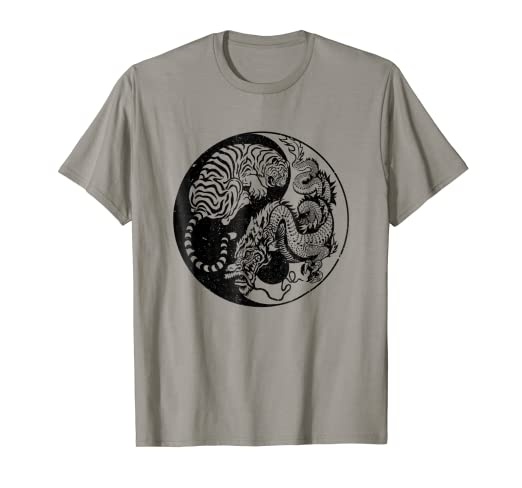 dd00eec66f7fb Amazon.com: Dragon Vs Tiger Tattoo! Yin and Yang Beast Fight T-Shirt ...