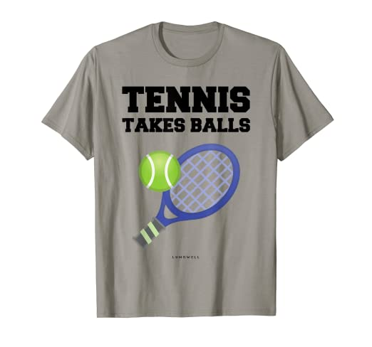 070cd5f0 Image Unavailable. Image not available for. Color: Funny Tennis T Shirts: Tennis  Takes Balls Gift ...