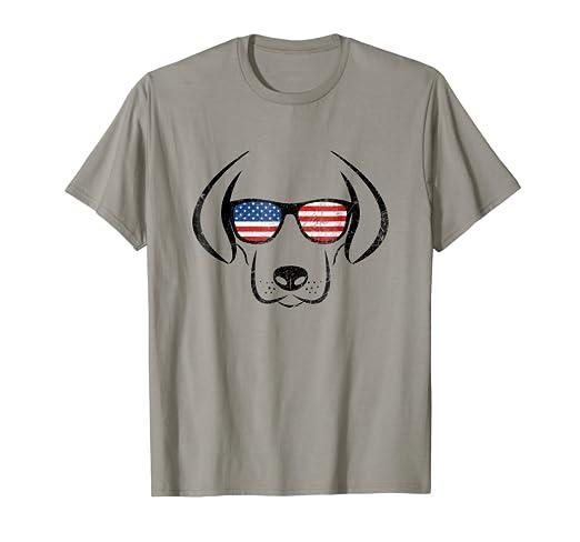 7136318b01 Amazon.com  Patriotic Lab Shirt. American Flag Dog Shirt  Clothing
