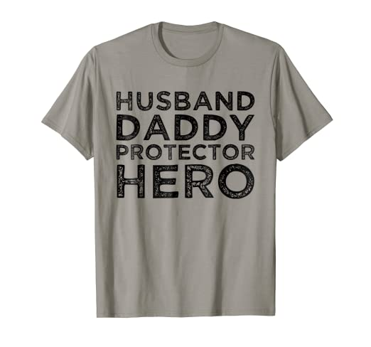 3838879c Image Unavailable. Image not available for. Color: Mens Husband Daddy  Protector Hero T-shirt Dad Gifts