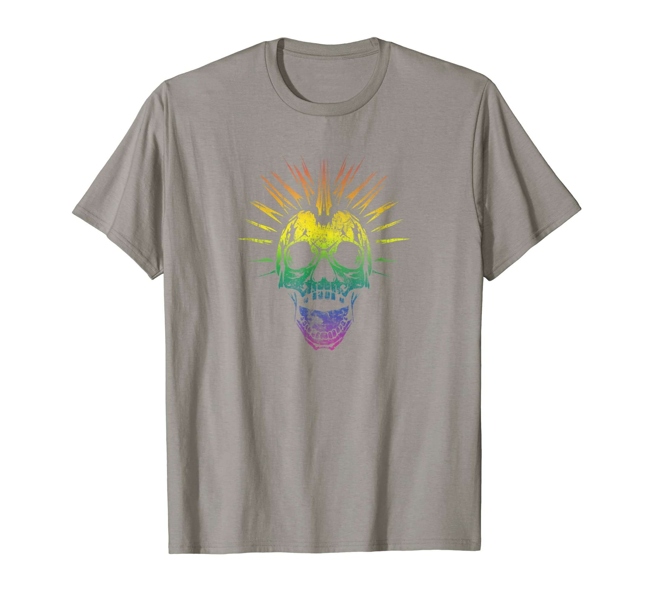 Alternative Gay Pride Rainbow Skull Mohawk T Shirt-mt