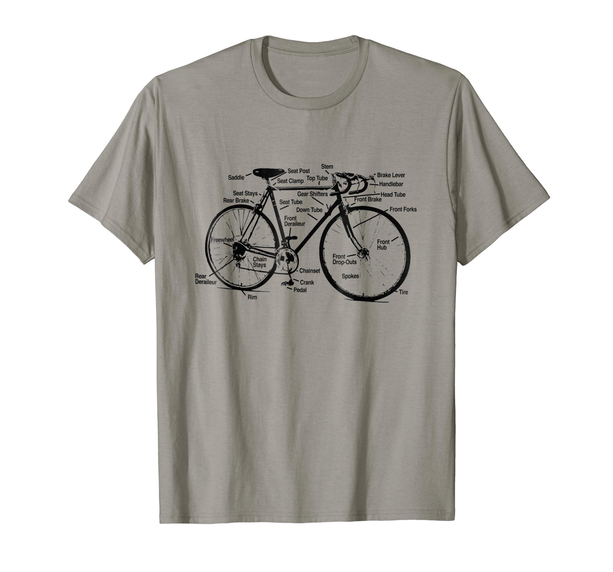 Amazon.com  Happy Family Clothing Vintage Bike Bicycle Diagram T-shirt   Clothing b0b156d58