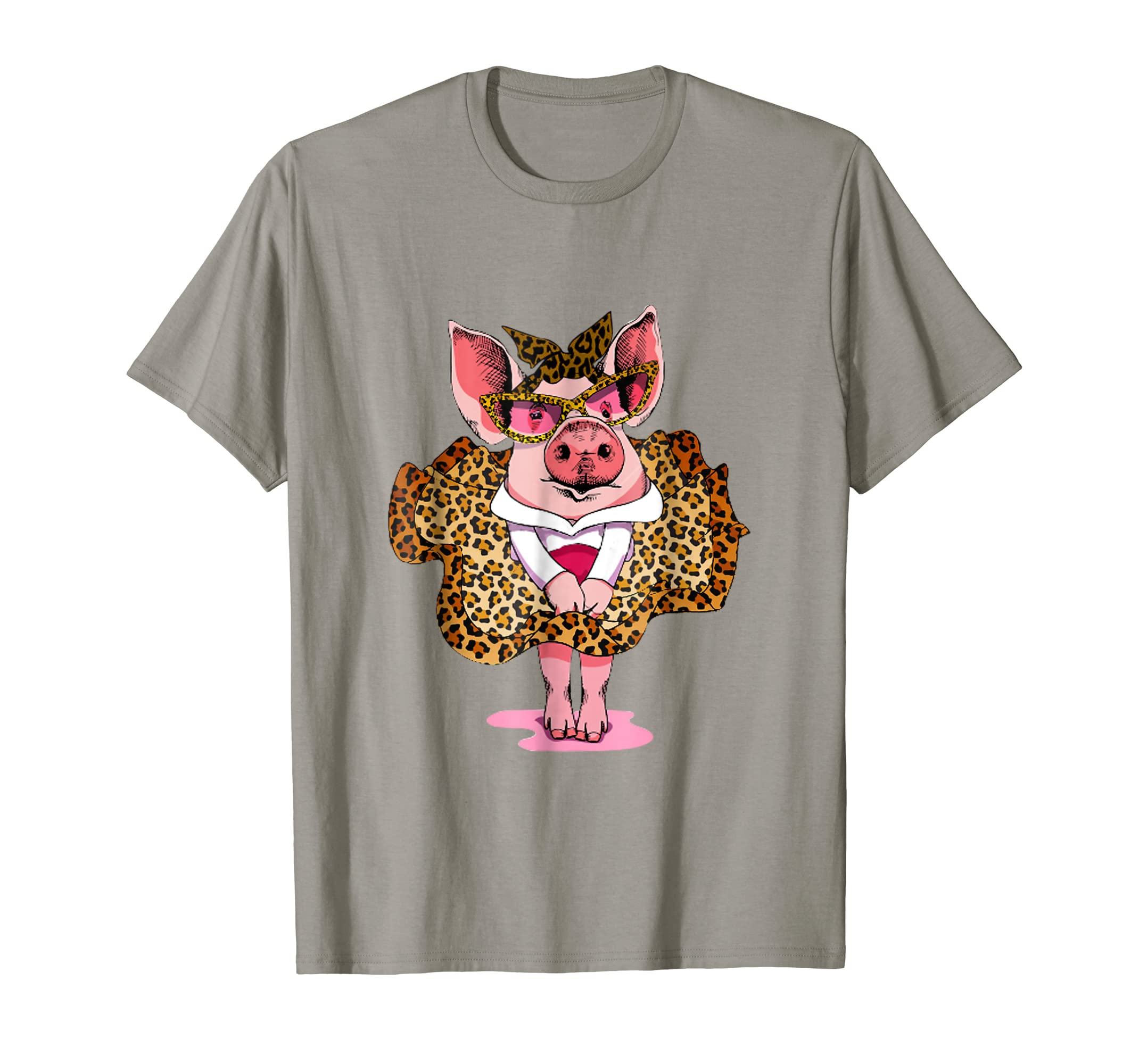 Pink pig bandana leopard and leopard skirt cute t-shirt-AZP
