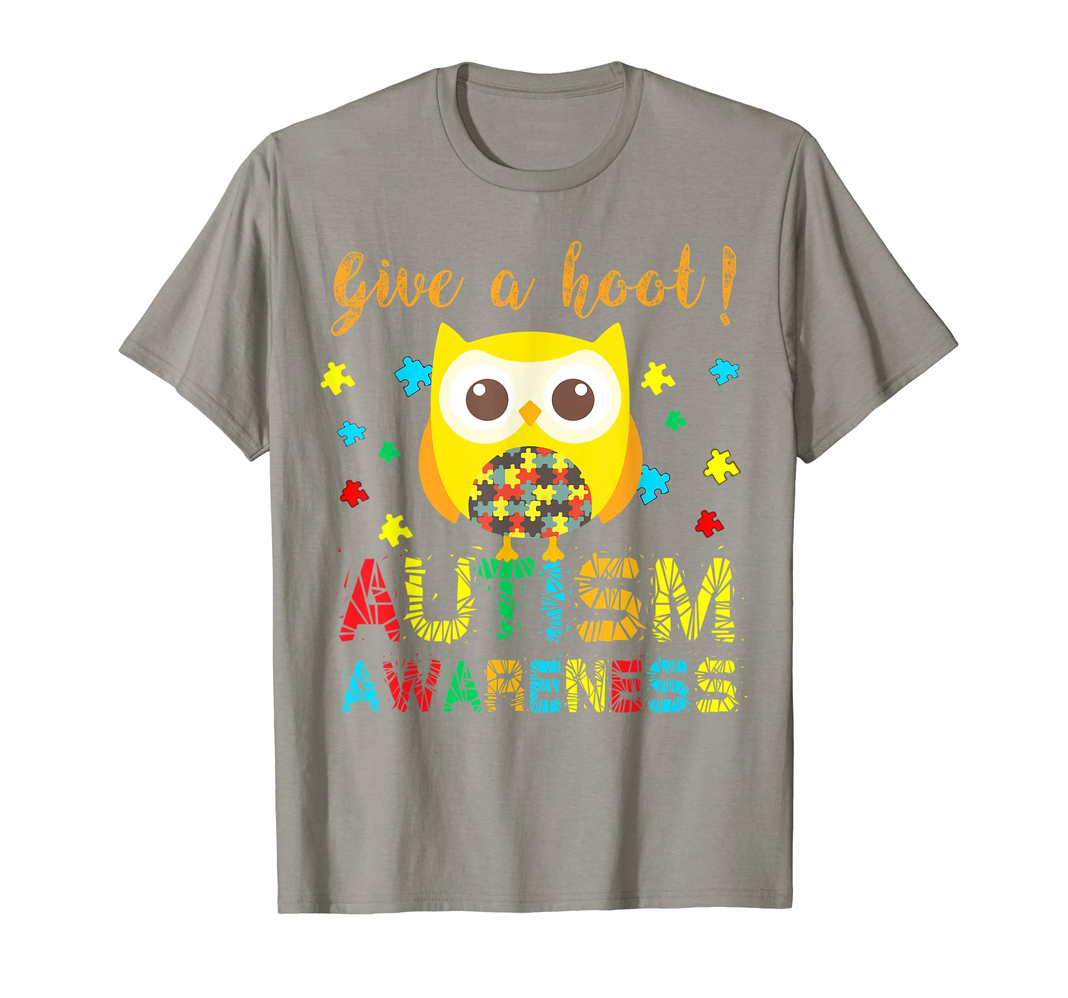 Autism Awareness Give a Hoot T-Shirt Owl Puzzle Gift-Teehay