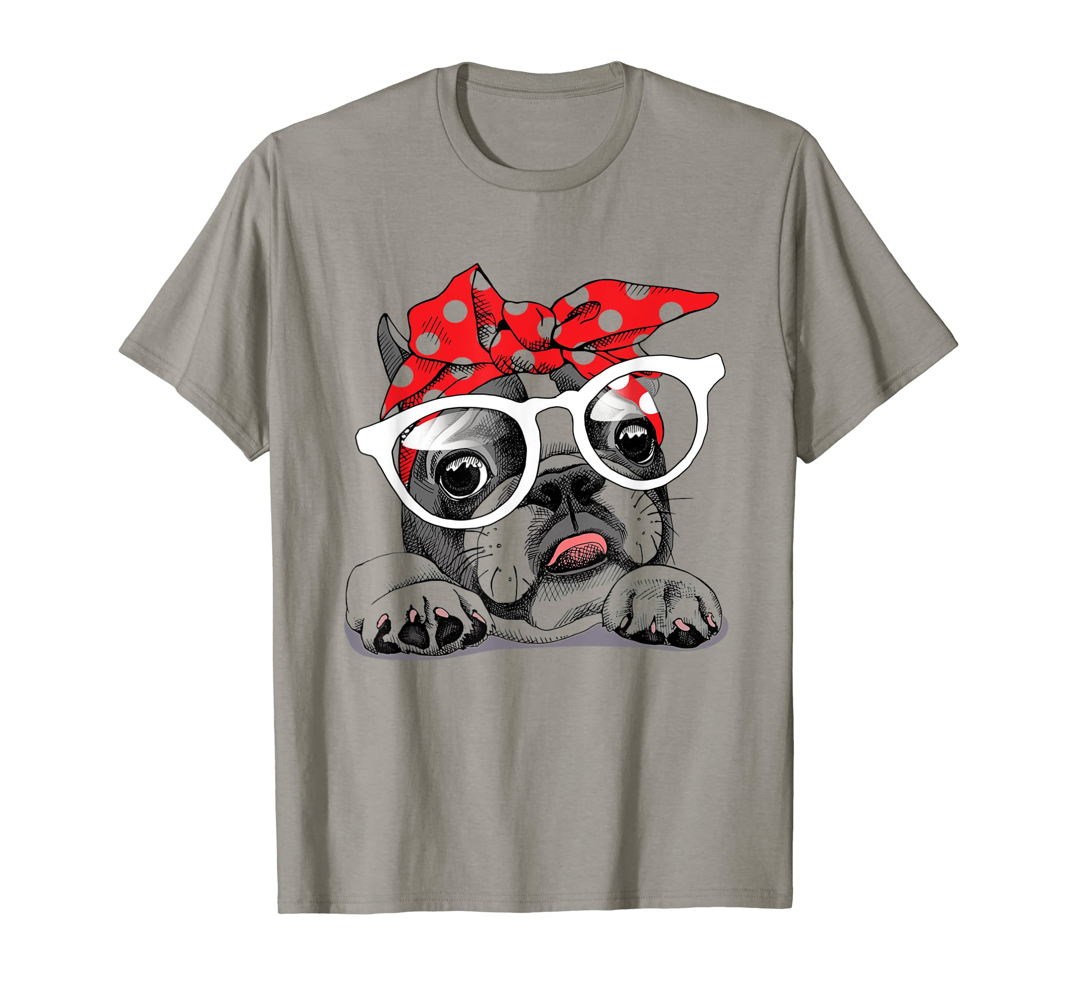 French Bulldog in a headband and with glasses T-Shirt-Loveshirt