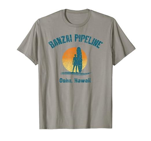 6d85f71e Amazon.com: Retro Banzai Pipeline Surfer T-Shirt Oahu Hawaii: Clothing
