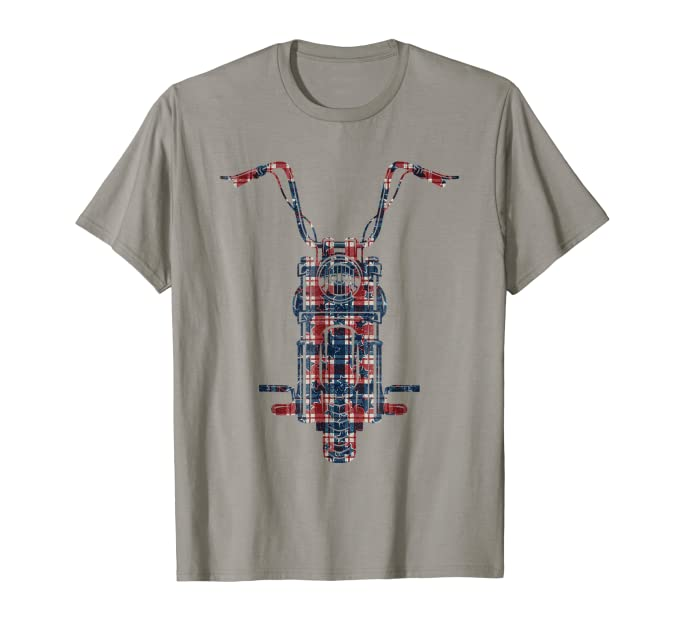 Plaid American Flag Motorcycle graphic Tee Shirt for bikers