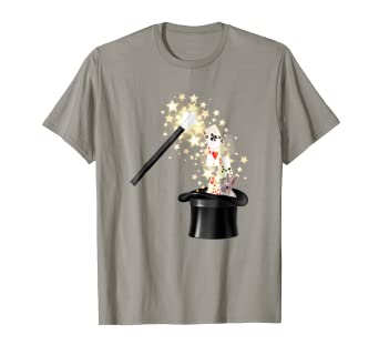 0a677746 Image Unavailable. Image not available for. Color: Magic Wand Top Hat Deck of  Cards Funny T-Shirt