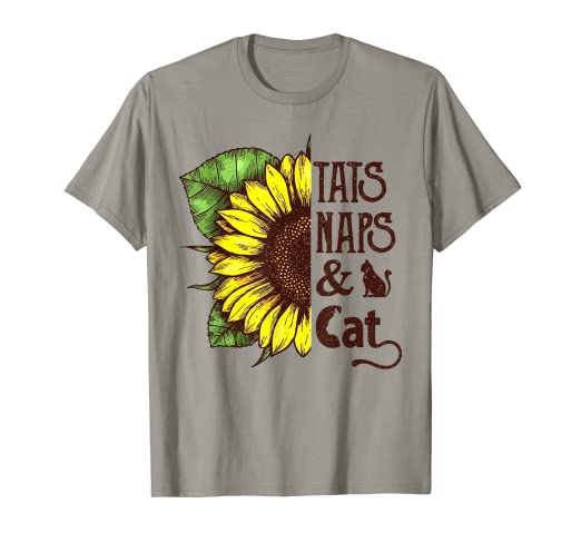 66fd2b3e Image Unavailable. Image not available for. Color: Sunflower Tats naps and cats  Funny Graphic T-shirt