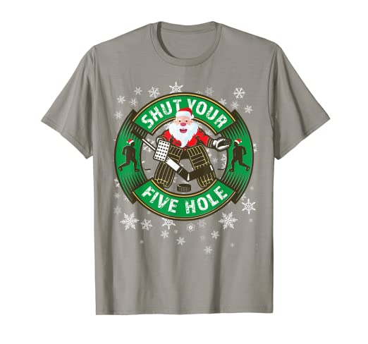 68c4f7a5 Image Unavailable. Image not available for. Color: Funny Hockey Shut Your  Five Hole Christmas Santa T-Shirt